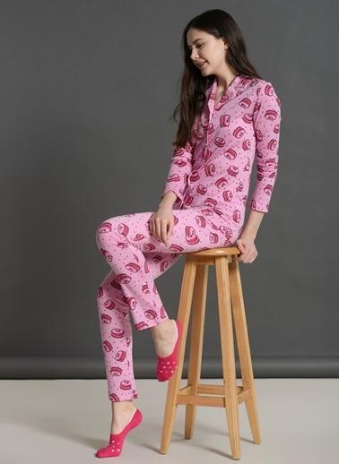 Dagi Gömlek Uzun Kollu Pijama Takımı Fuşya